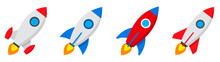 Rocket Icons Set. Spaceship La...