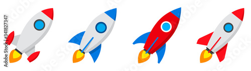 Fototapeta Rocket icons set. Spaceship launch icon. Vector