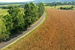 Aerial view of rural life scene. Great landscape. Countryside scenery.