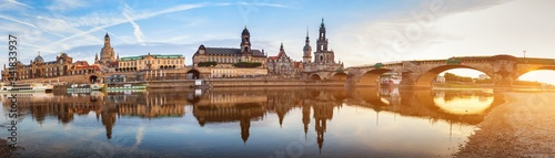 Dresden city skyline panorama at Elbe River and Augustus Bridge, Dresden, Saxony Canvas Print