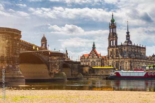 Augustus Bridge (Augustusbrucke) and Cathedral of the Holy Trinity (Hofkirche) over the River Elbe in Dresden, Germany, Saxony Canvas Print