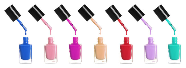 Set of different nail polishes dripping on white background. Banner design