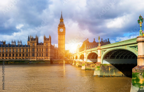 Big Ben and westminster bridge in London Fototapeta