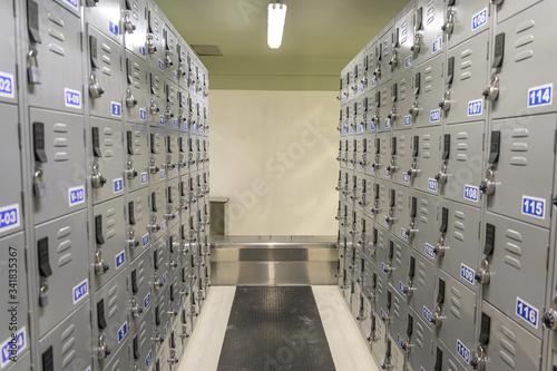 Casilleros y lockers en vestidores de maquilas y hospital zona desinfectada Tablou Canvas