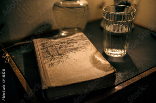 old book and glasses #341835761