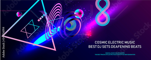 Leinwand Poster Poster electric musik futuristic space bubbles 3d cluster pastel shades decorati