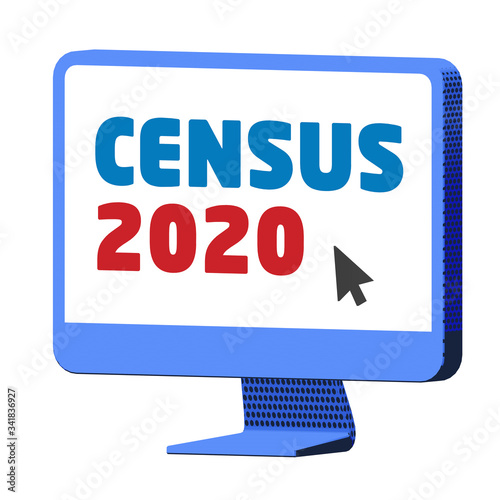 Fényképezés Accessing the Census 2020 website on a blue computer,  on isolated white backgro