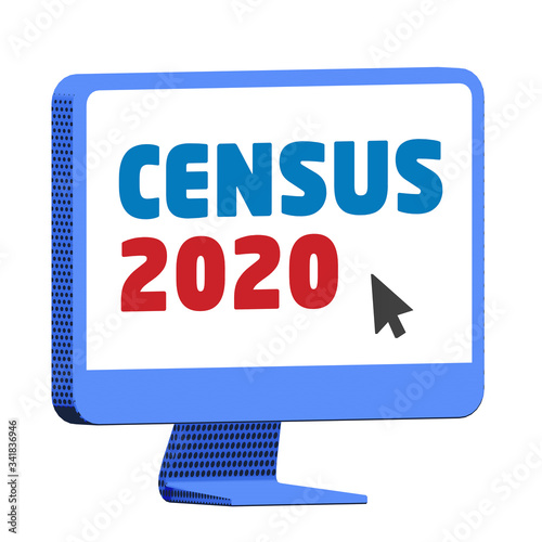 Valokuva Accessing the Census 2020 website on a blue computer,  on isolated white backgro