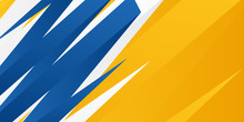 3D Bright Blue Orange Yellow Banner Background Graphic With Sharp Brush Stroke Background Design With Slate Gray, Royal Blue And Light Coral Color