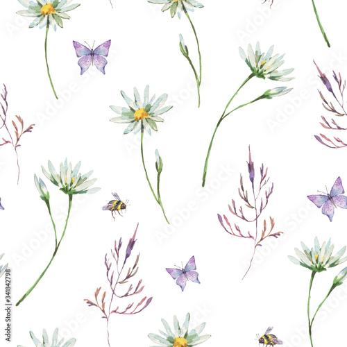 Leinwandbilder - Watercolor summer chamomile meadow flowers seamless pattern