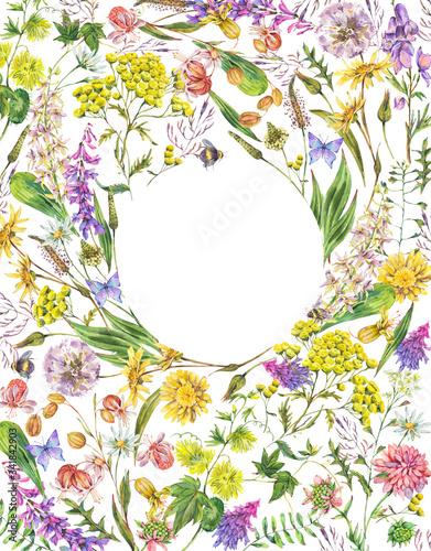 Leinwandbilder - Watercolor summer meadow flowers frame, wildflowers greeting card
