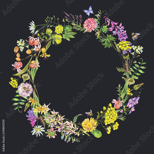 Leinwandbilder - Vintage watercolor summer meadow wildflowers wreath.