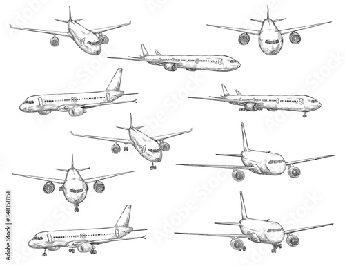 Airplane sketch vector icons in different view. Modern aircraft types with turbine engines on takeoff and landing, civil aviation transport, etching symbols Fotobehang