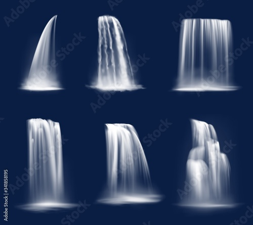 Waterfall cascade, realistic water fall streams, isolated vector pure liquid with fog. River, fountain elements of different shapes for natural design. 3d falling waterfall, streaming water jets set - 341858195