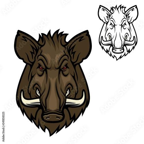 Slika na platnu Boar hog wild animal muzzle, vector hunter club icon