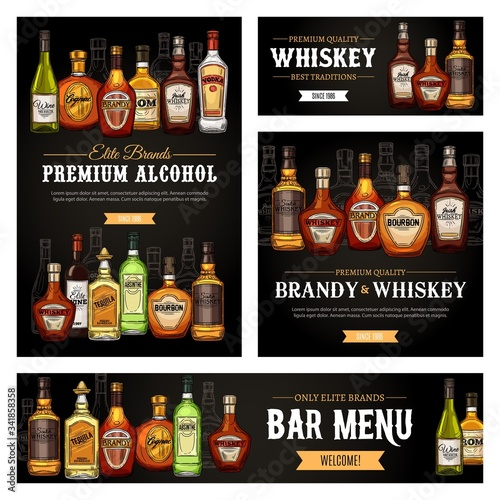 Bar menu vector banners and posters, premium quality brand alcohol drink bottles sketch Canvas Print