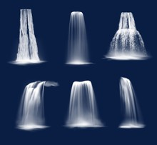 Waterfalls And Water Fall Cascades Realistic Vector Design Of Mountain River Streams Falling Down With Splashes, Fog Or Mist And Drops. Ledge, Plunge And Horsetail Waterfalls On Blue Background