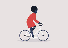 Young Black Female Character Riding A Bike, Millennial Lifestyle