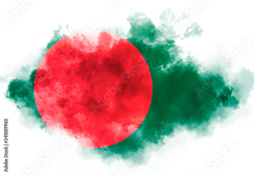 Foto Bangladesh flag performed from color smoke on the white background