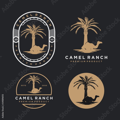 Camel ranch with date palm tree logo, simple minimalist design, animal nature icon. Wall mural