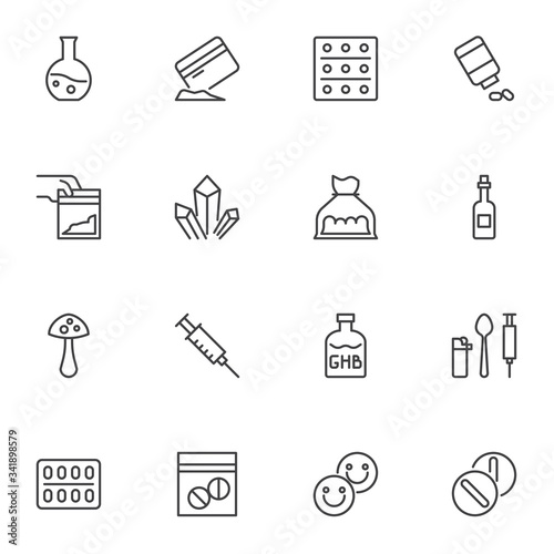 Drugs line icons set, outline vector symbol collection, linear style pictogram pack Wallpaper Mural