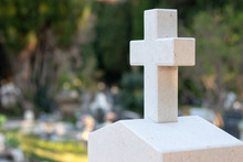 White Stone Cross With Green O...