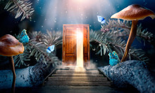 Fantasy Enchanted Fairy Tale Forest With Magical Opening Secret Door And Stairs Leading To Mystical Shine Light Outside The Gate, Mushrooms And Flying Fairytale Magic Butterflies In Woods
