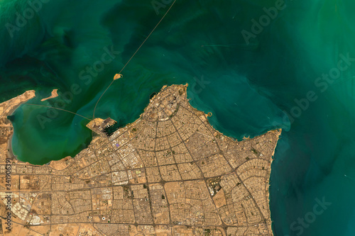 High resolution satellite image of Kuwait City on the shore of the Persian Gulf Wallpaper Mural