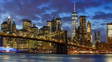 New York City Skyline Night Manhattan Town Panoramic Brooklyn Bridge World Trade Center