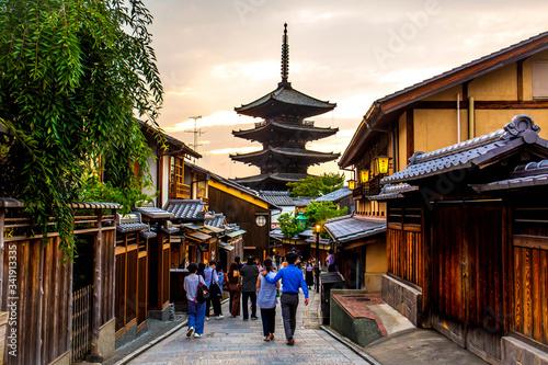 KYOTO, JAPAN - JUNE 22, 2019 :: Ninenzaka and Sannenzaka, a popular historical alleys in Kyoto Canvas Print