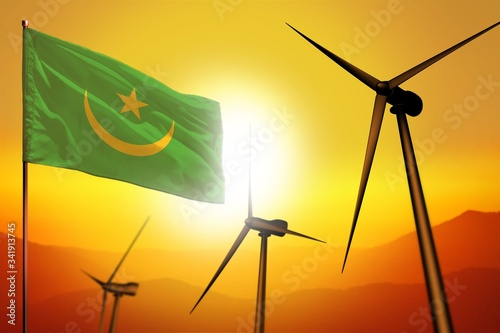Mauritania wind energy, alternative energy environment concept with wind turbine Canvas Print