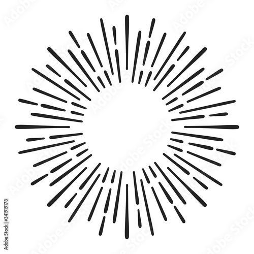 Fototapeta Sunburst doodle line art. Hand drawn sun burst, round banner with circle explosion. Retro sketch radial rays, black frame isolated on white background. Monochrome handmade design element obraz na płótnie