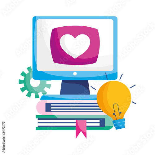 Photo Isolated computer books heart gear and light bulb vector design