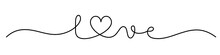 LOVE Black Vector Monoline Calligraphy Banner With Swashes And Heart Symbol