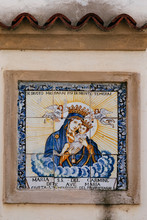 Mosaic Tiles Of Virgin Mary And Jesus Christ On Wall