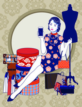 Vector Of Beautiful Chinese Vintage Lady Holding Mobile Phone With Present Box, Shopping Bag, Vintage Grunge Travel Suitcase And Accessories In Fashion Shopping Action On Brown Background.