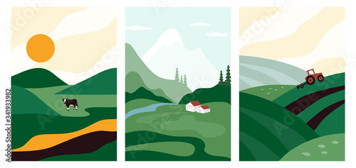 Foto Vector illustrations with farm land, nature, landscape
