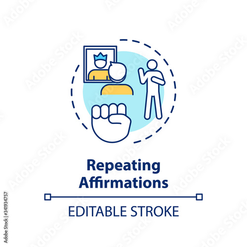 Repeating affirmations concept icon Wallpaper Mural