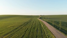 Fantastic View Of The Beautiful Green Hilly Fields And Road Of Moravia, Czech Republic. Top View From Drone.