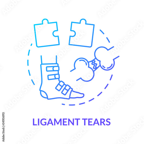 Ligament tears, foot tendon rupture concept icon Canvas Print