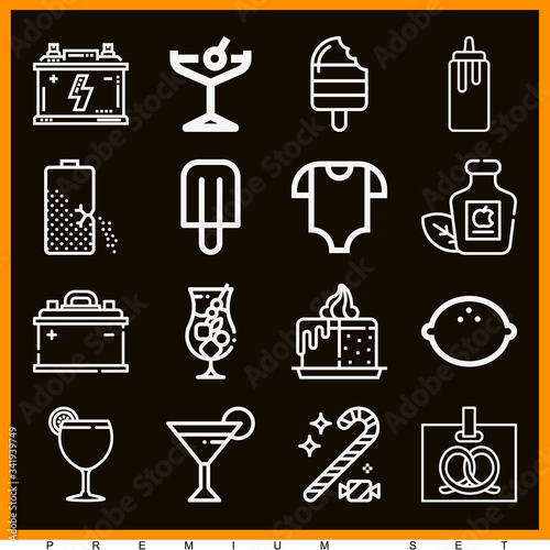 Set of 16 acidic lineal icons Canvas Print