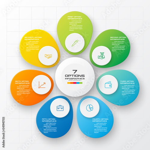 Valokuva Business infographics 7 steps,Abstract design element,Vector illustration