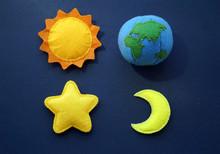Space Soft Felt Toys: Planet Earth, Sun, Star And Moon
