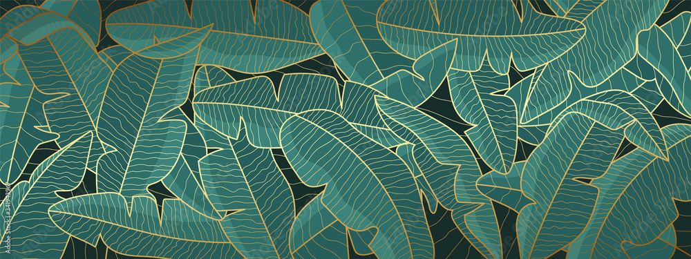 Fototapeta Tropical banana leaf background, Luxury nature pattern design, banana leaf line arts wallpaper, Hand drawn outline design for fabric , print, cover, banner and invitation, Vector illustration.