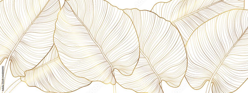 Fototapeta Luxury gold nature background vector. Floral pattern, Golden split-leaf Philodendron plant with monstera plant line arts, Vector illustration.