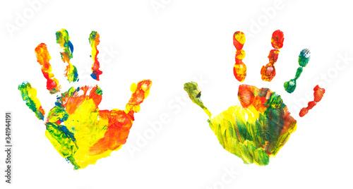 Fényképezés Colorful children handprint painted, kids design