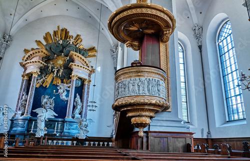 Obraz na plátně The altarpiece in the Church of Our Saviour. Denmark, Copenhagen.