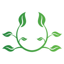 Green Leaf Logo Isolated On White Background. Eco Label Of Healthy Organic Natural Fresh Farm Food. Vector Illustration For Any Design.