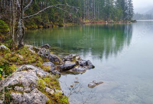 Fotografia, Obraz Drizzly rain on alpine autumn lake Hintersee, Alps, Bavaria, Germany
