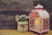 Pink Metal Lantern With Candle...